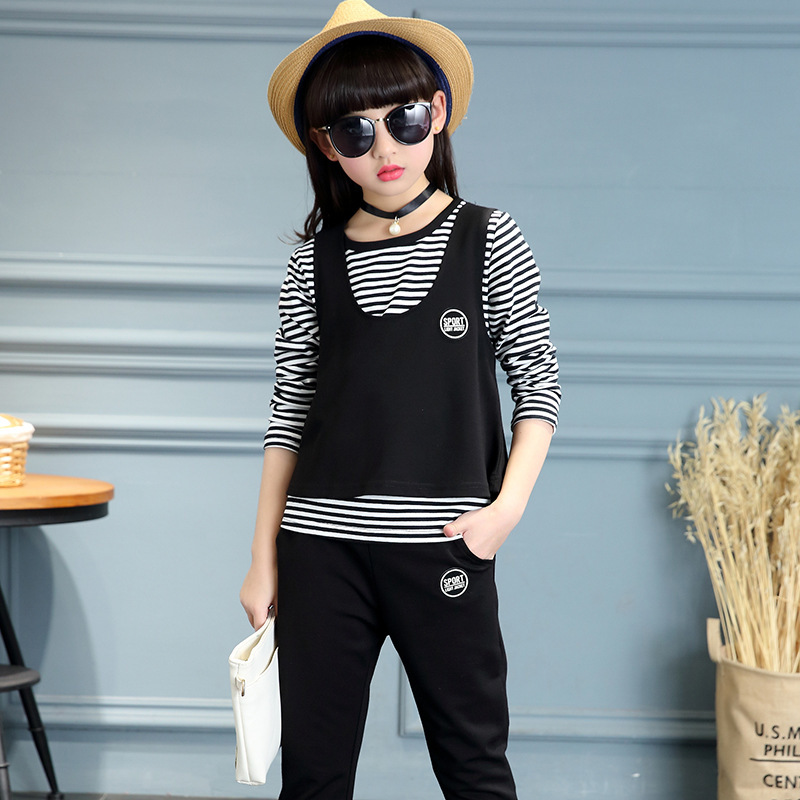 Girl Spring And Autumn Suit Korean Child Fashion Camisole Stripe T-shirts Children's Three-piece 2015 fashion baby spring three pieces suits korean printed cardigan shirts
