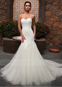 Image 2 - Dantel Sevgiliye Boyun Çizgisi Mermaid düğün elbisesi Dantel Aplikler Tül Gelin Elbise vestidos de noivas