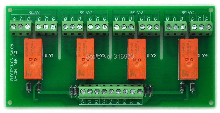 Passive Bistable/Latching 4 DPDT 8 Amp Power Relay Module, 5V Version, RT424F05