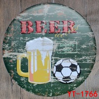 30X30 CM Bier & Voetbal Vintage Home Decor Tin Bord Muur Decor Metalen Teken Vintage Art Poster Retro Plaque \ Plaat