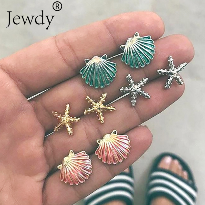4 Pairs/Set Starfish Shell Multicolored Stud Earrings for Wos