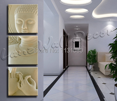 3 Pieces Canvas Painting Art Wooden Frame Ready To Hang White Budda Home  Decoration Wall Picture