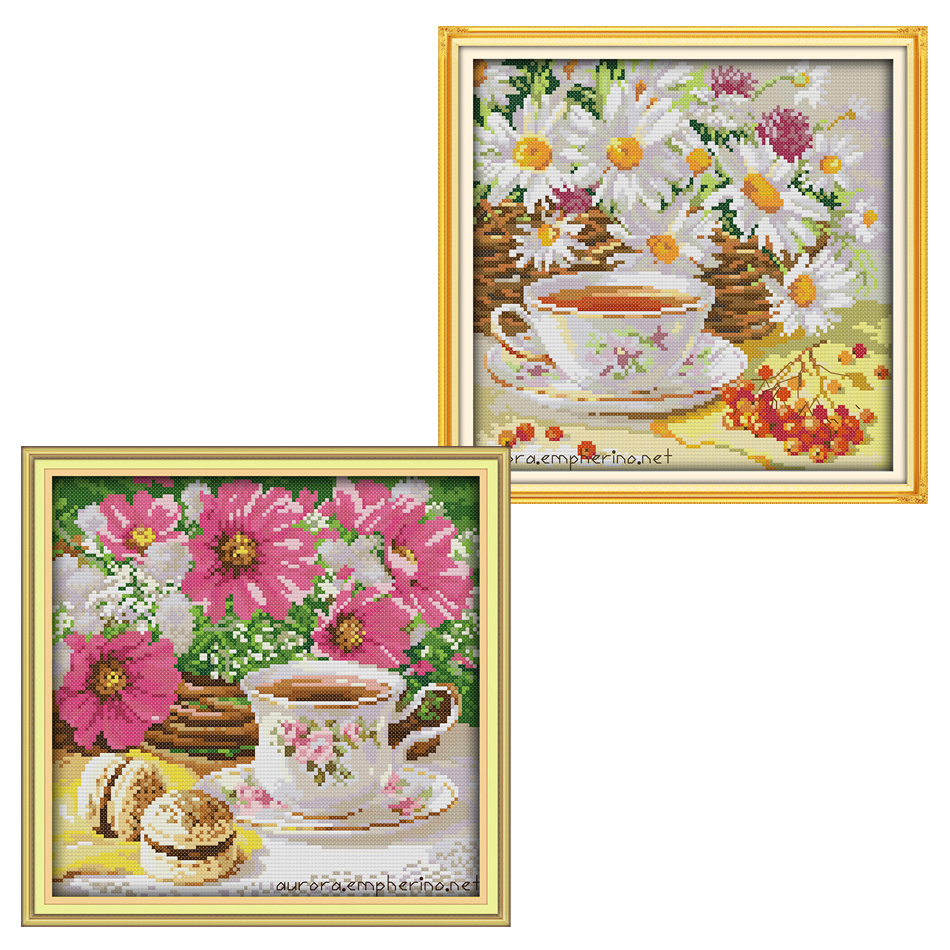 Joy Sunday,Afternoon tea,cross stitch embroidery set,printing cloth kit,needlework,DIY cross kit