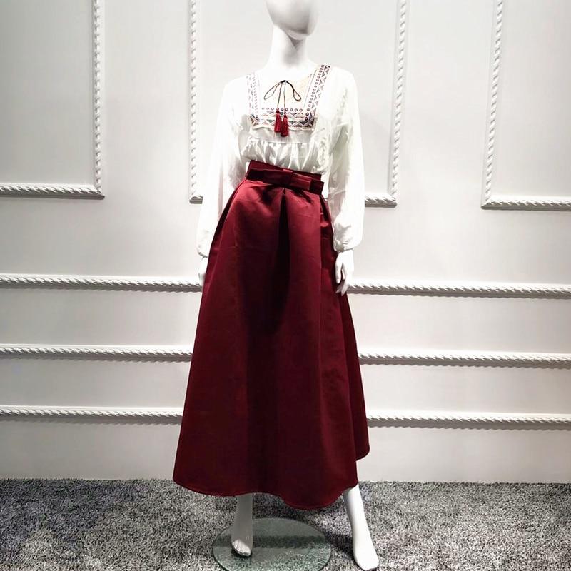 Plus Size Skirts Faldas Mujer Moda 19 Abaya Dubai Turkish Long Pleated Maxi High Waist Skirt Women Jupe Longue Femme Skirts 17