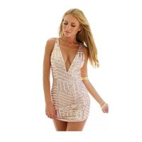 Sexy Women Deep V Neck Sequins Bodycon Dress Club Cocktail Party Dresses With Paillette P16 L4