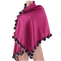 women scarf fur cashmere with natural rex rabbit fur trim spring autumn winter fashion cape scarf S12