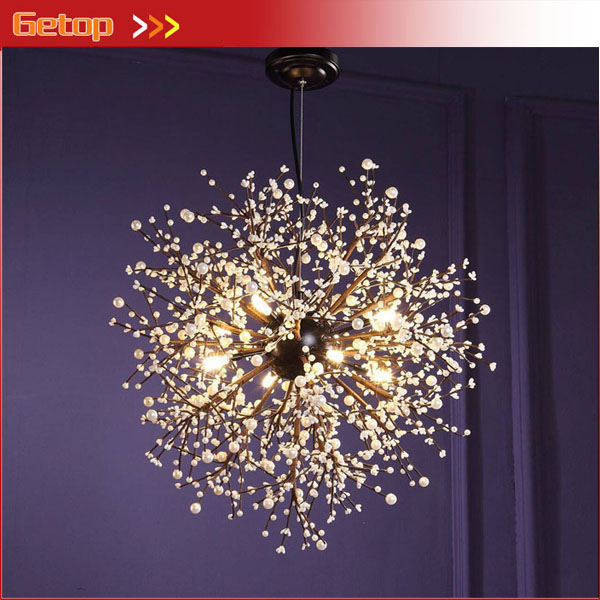 Nordic Creative Pendant Lamp Firework LED Vintage Wrought Iron Chandelier Lighting for Restaurant Bar D60/80/120cm nordic loft vintage american rural countryside creative restaurant bar wrought iron chandelier circle globe lamp lighting wpl226