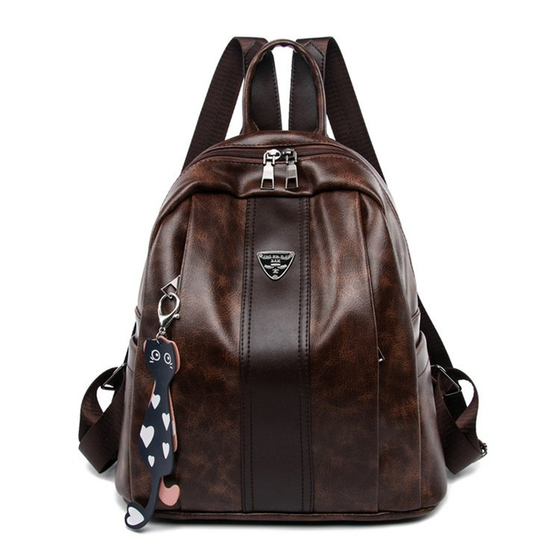Fashion Small Backpack European And American Style Vintage Bag Soft Pu Leather Solid Leisure Bag For Women Cute Shoulder Bag