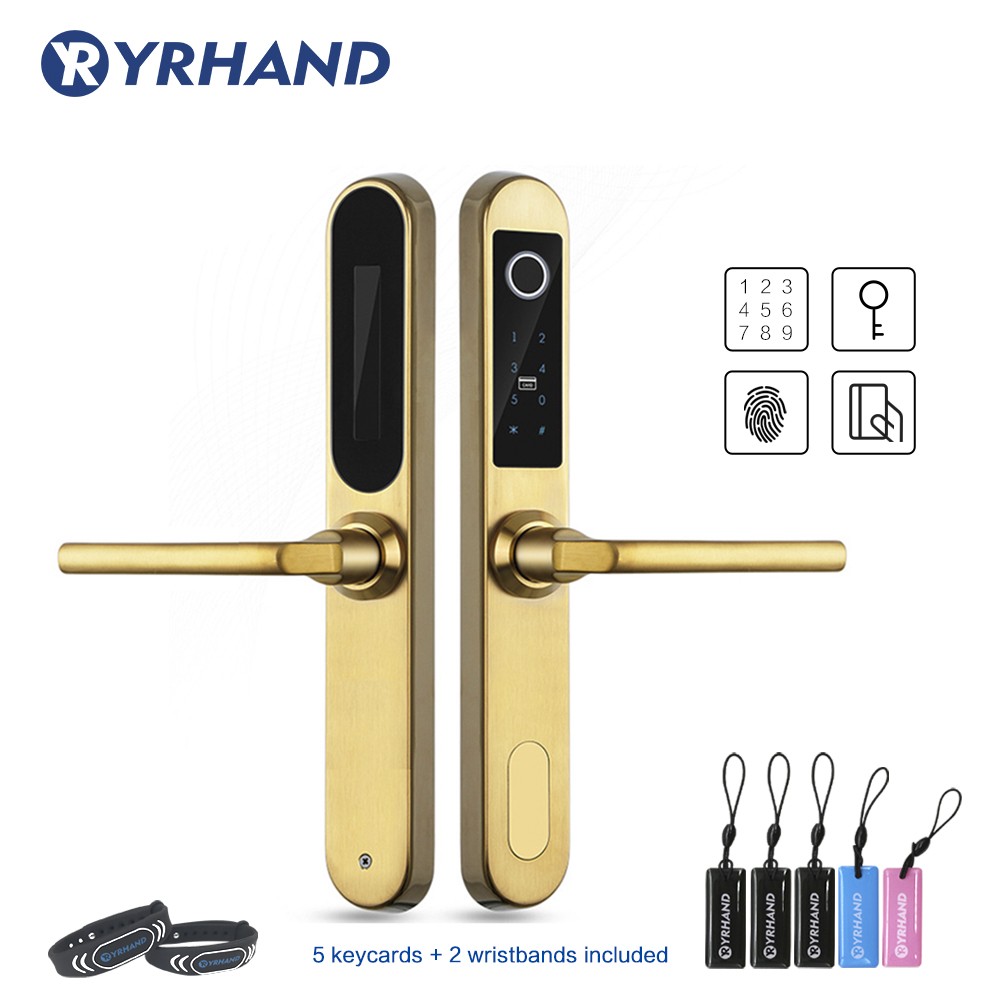 304 Stainless steel Electronic Sliding Door Lock Fingerprint Aluminum Door Lock Digital Smart Door Lock|Electric Lock| |  -