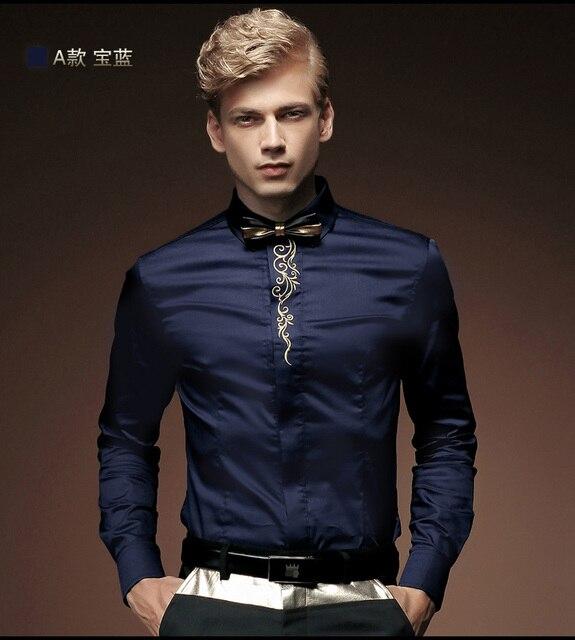 Fanzhuan 512013 Бесплатная доставка Новая Весна мужчина с длинными рукавами рубашки сплошной цвет тонкий вышивка цветок мужские бамбуковые волокна плюс размер