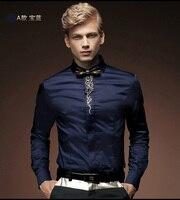 Fanzhuan 512013 משלוח חינם ניו אביב זכר ארוך פרח רקמה רזה צבע אחיד חולצה שרוול גברים של סיבי במבוק בתוספת גודל