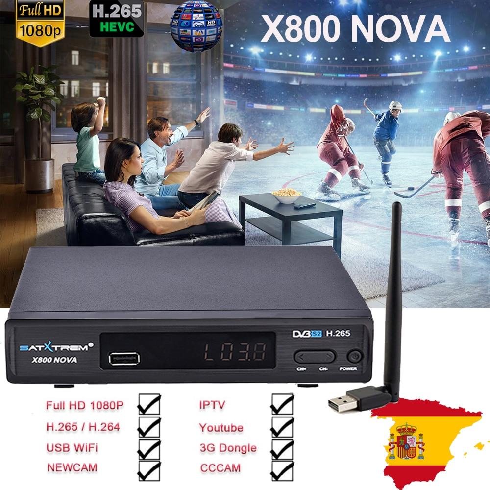 X800 nova Recettore DVB-S2 H.265 Ricevitore Satellitare TV trasporto 1 Anno Europa 8 linee cccam + USB WIFI di Sostegno IPTV /Youtube pk V8 nova