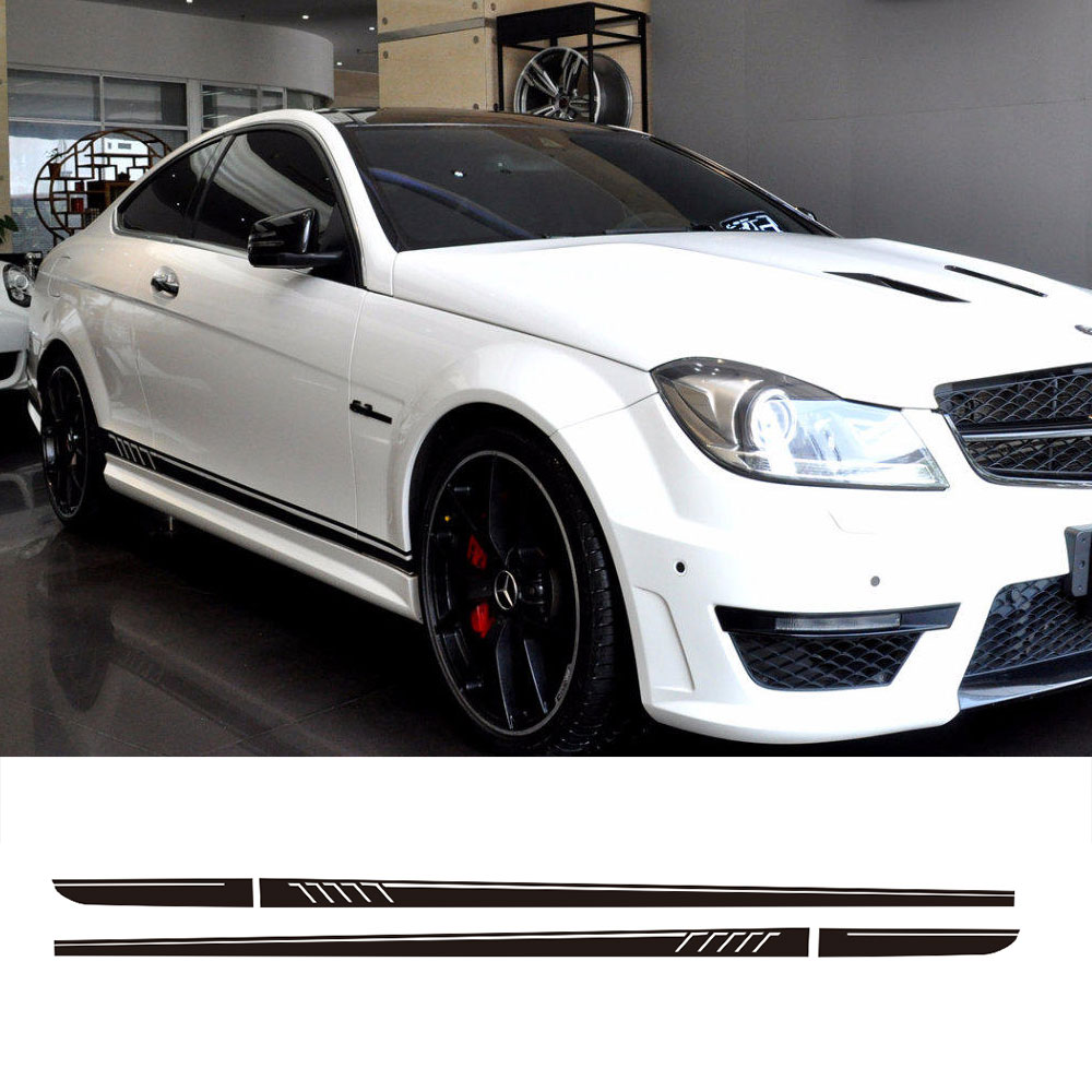 507 Style Door Side Stripes Skirt Vinyl Decal Sticker for Mercedes Benz S204 W204 Coupe C63 C180 C200 C300 C230 AMG Accessories 8 8 side rear view mirror stripes vinyl decal car sticker for mercedes benz w205 w204 w212 w117 w176 w213 edition 1 amg style