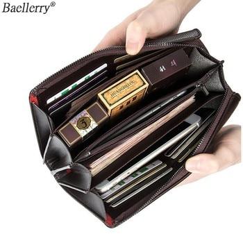 Baellerry Business Phone Wallet Luxury Brand Big Capacity Coin Purse Smart Long Zipper Wristlet Male Men Clutch Bags