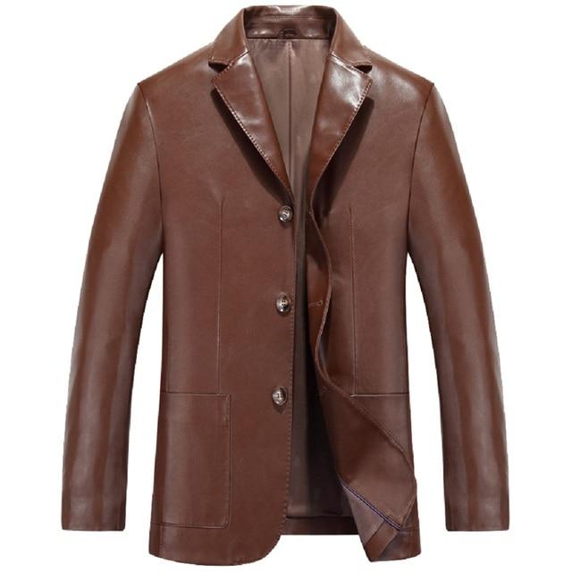 KUYOMENS 2016 Fashion New style fashion mens leather jacket Coat brand PU leather blazers men slim fit suit jacket Outwear