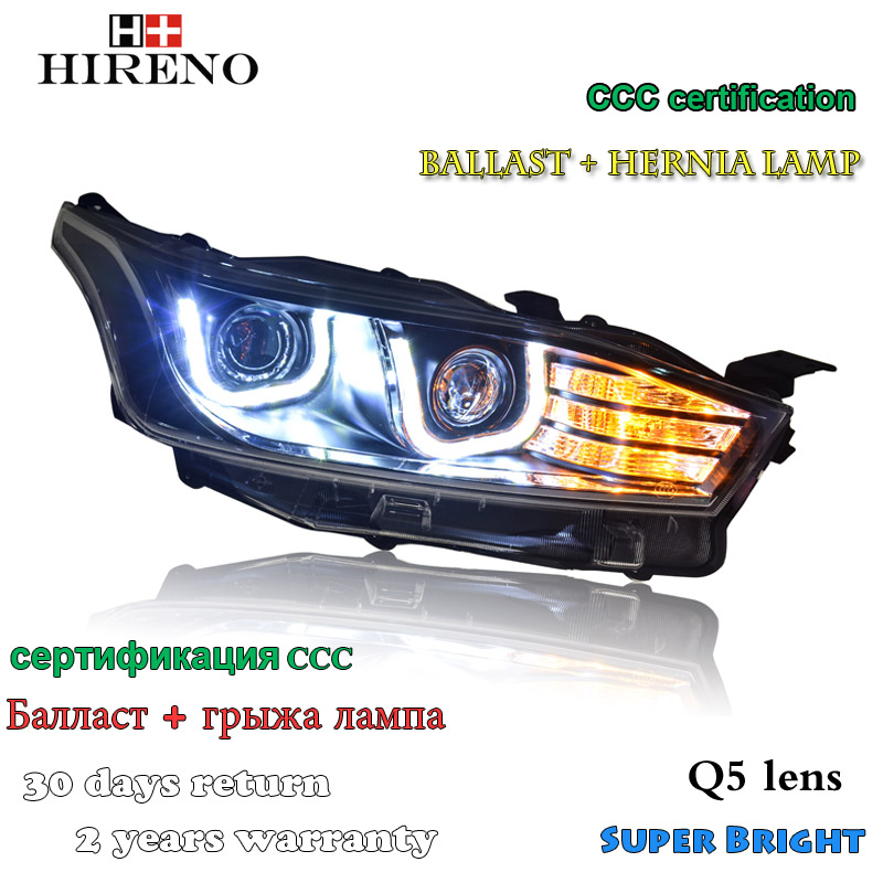 Hireno Headlamp for 2014-2016 Toyota YARiS L Headlight Assembly LED DRL Angel Lens Double Beam HID Xenon 2pcs hireno headlamp for 2014 2016 toyota yaris l headlight assembly led drl angel lens double beam hid xenon 2pcs