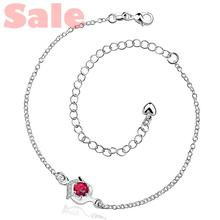 AAVA BNHA Plated Silver Anklets Fashion Jewelry CA034-A Simple Style Round with Clear and Red Cubic Zirconia Foot Bracelets