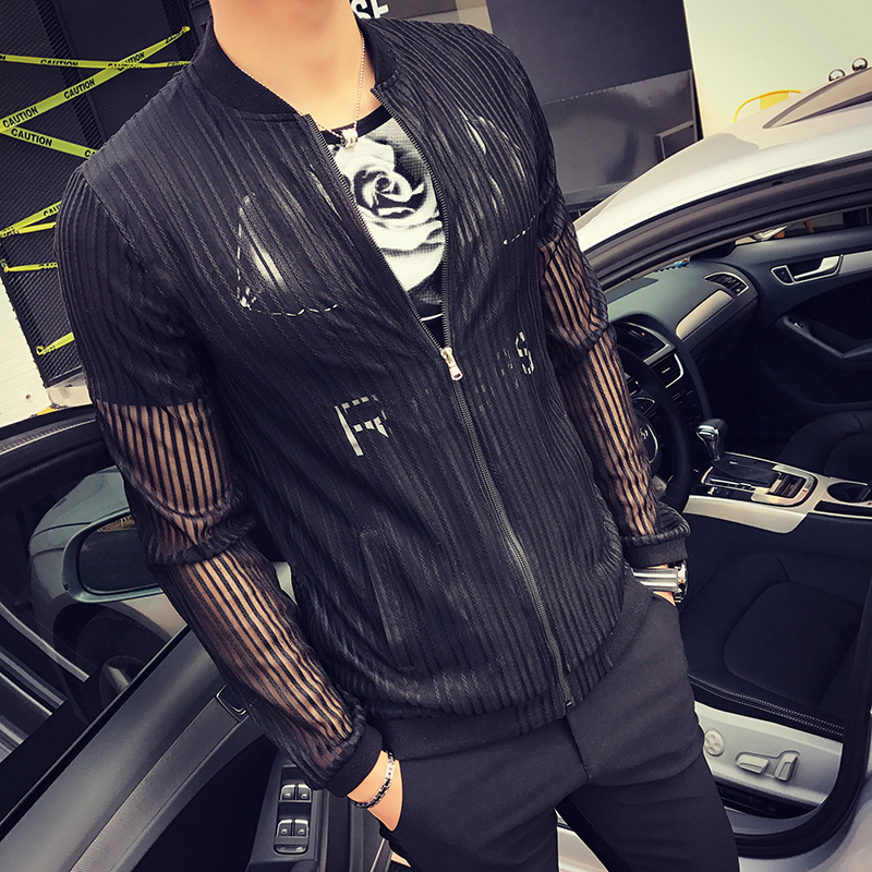 2019 Summer Jackets Mens Stripe Transparent Jackets Sexy Black Club Outfits White Mens See Through Jackets Jaqueta Masculino New