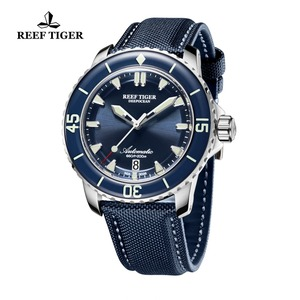 Image 2 - New 2020 Reef Tiger/RT Super Luminous Dive Watches Mens Blue Dial Analog Automatic Watches Nylon Strap reloj hombre RGA3035