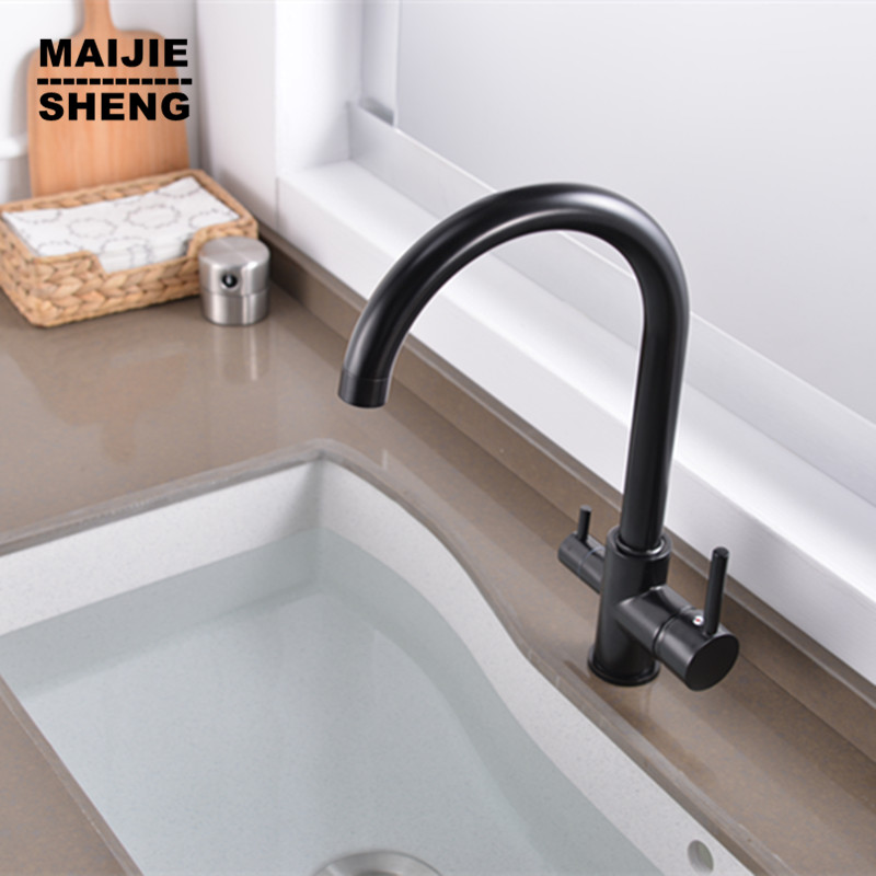 цена на Filter Kitchen Faucets New Dual function Single Hole Torneira Faucets Two Drinking Water Tap Three Way Faucet for clean water
