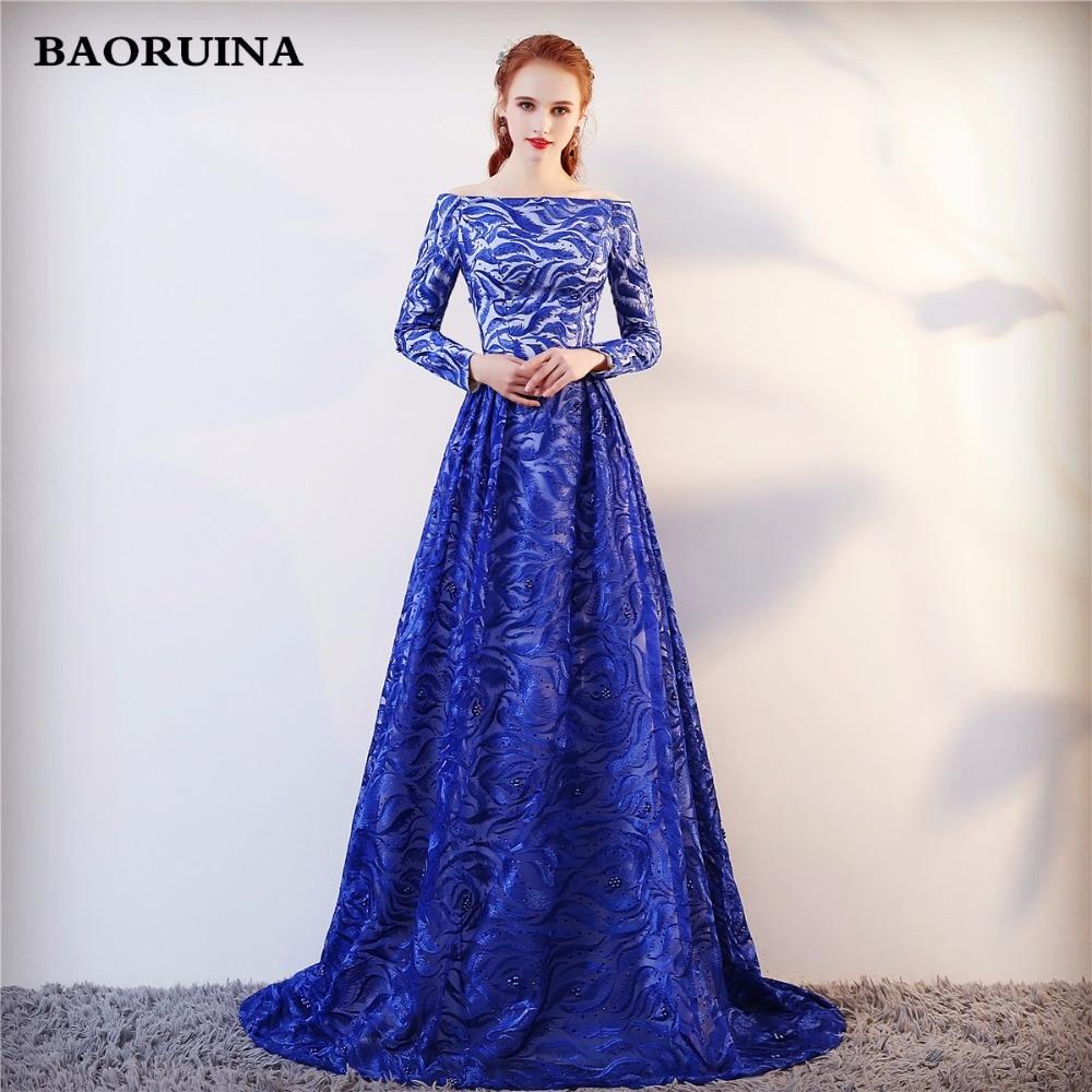 Echte foto lange mouwen formele avondjurk blauwe elegante lange prom - Jurken voor bijzondere gelegenheden - Foto 1