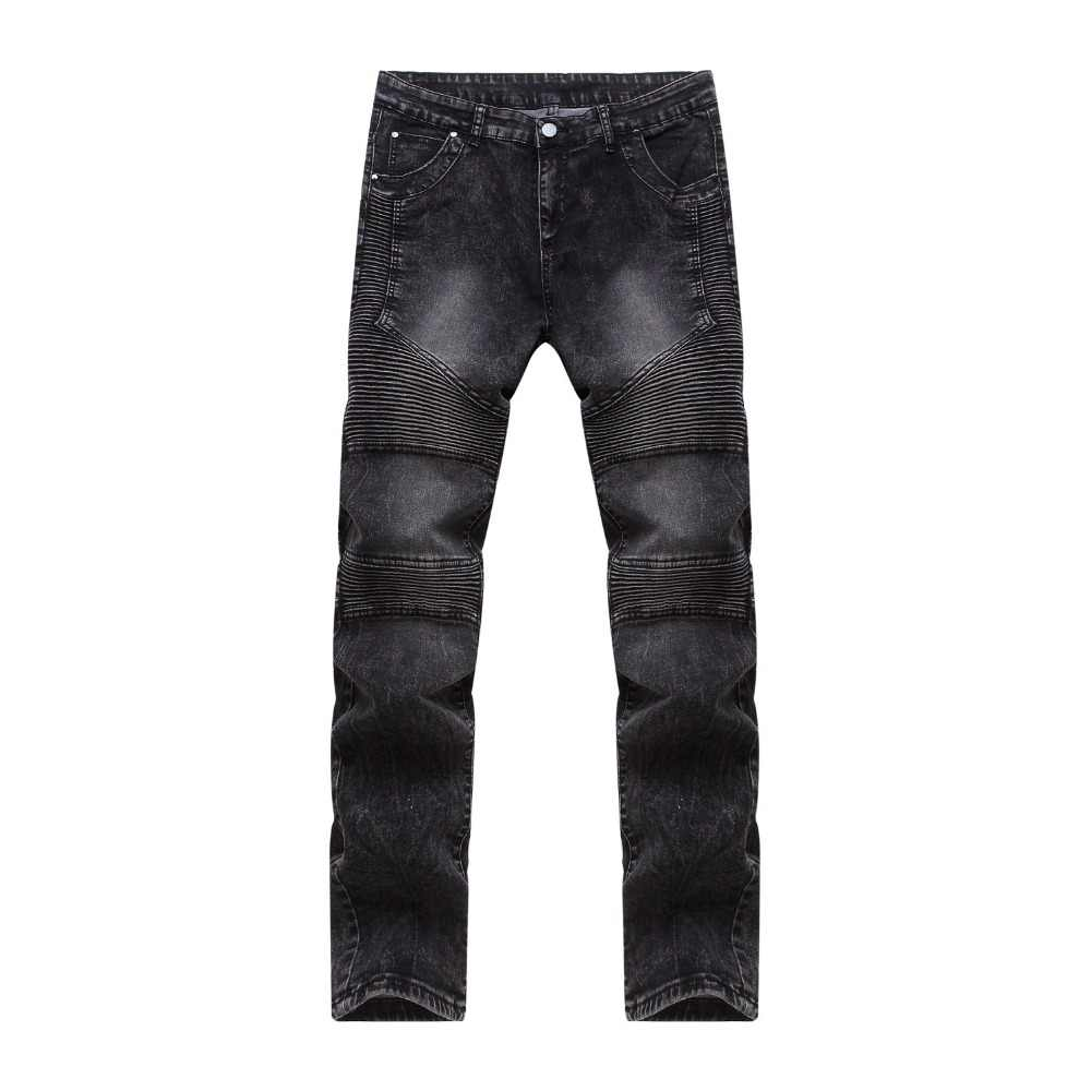 Men's Fashion Ripped Biker Jeans Men Distressed Moto Washed Pleated Jean Good Quality Slim Fit Skinny Jeans Male Black