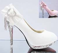 Sweet 2016 Women Autumn Wedding Bridal Prom Heart Rhinestone Gold Pink 10 Cm Thin High Heels