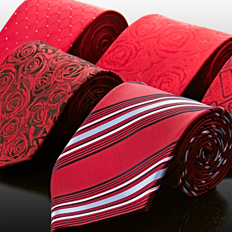 Brand quality Men's tie red commercial tie formal silk tie marriage tie free shipping