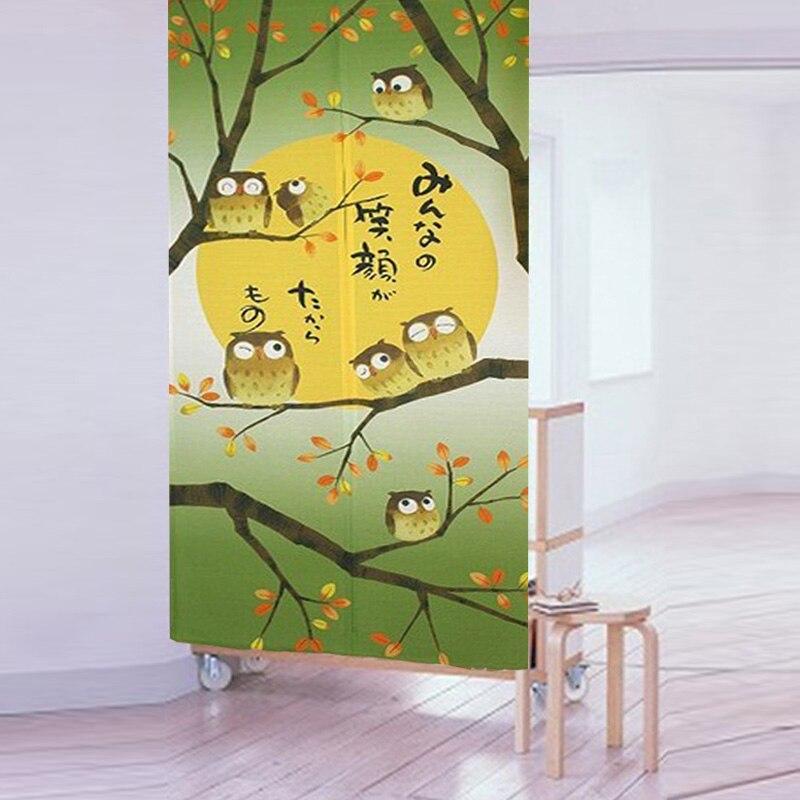 Nice Curtains High quality beautiful japanese tricot yarn print owl door curtain air curtain kitchen curtain for door 85 150cm