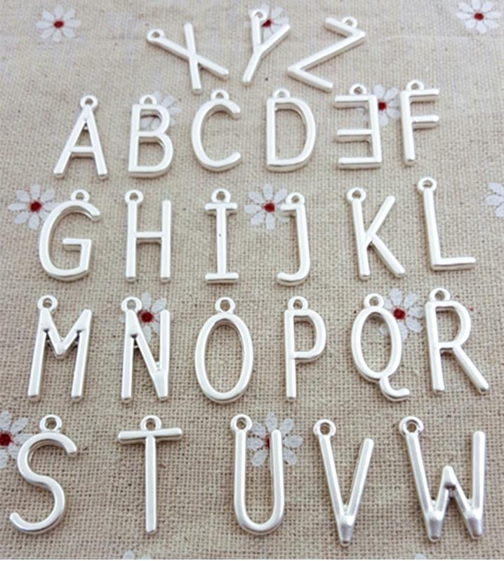 50pcs lot 21 5mm Matt Silver Gold color Single Letter Alphabet