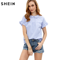 SheIn Ladies Tops Blue Blouses In Women Summer Blue Striped Peter Pan Collar Short Sleeve Blouse