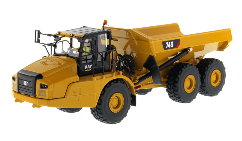 DM 1:50 CAT 745 ARTICULATED <font><b>Hauler</b></font> Mining Dump Truck Engineering Machinery Diecast Toy Model 85528 for Collection,Decoration image