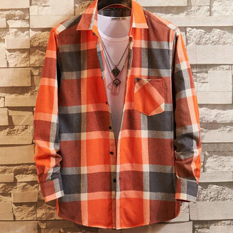England Men Fashion Long Sleeve Single Breasted Plaid Printed Casual Cloth,Turn-down Collar Flannel Warm Winter Autumn Shirts