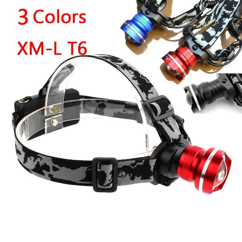 Ultra Bright Fisheye 2000 Lumen T6 or L2 LED Headlamp Headlight Zoomable XM-L T6 Head Lamp Light Lantern for Hiking use 2*18650