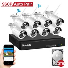 YESKAMO 8 channel Wireless Security System 8pieces 960P cameras plug and play kit