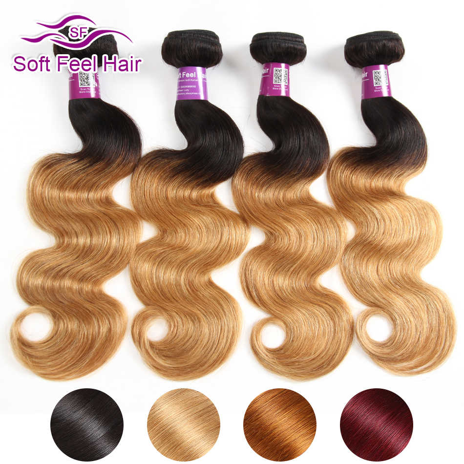 Soft Feel Hair Ombre Hair Bundles Brazilian Body Wave Bundles 99J Blonde Ombre Human Hair 3 Bundles Extensions Remy Hair Weave
