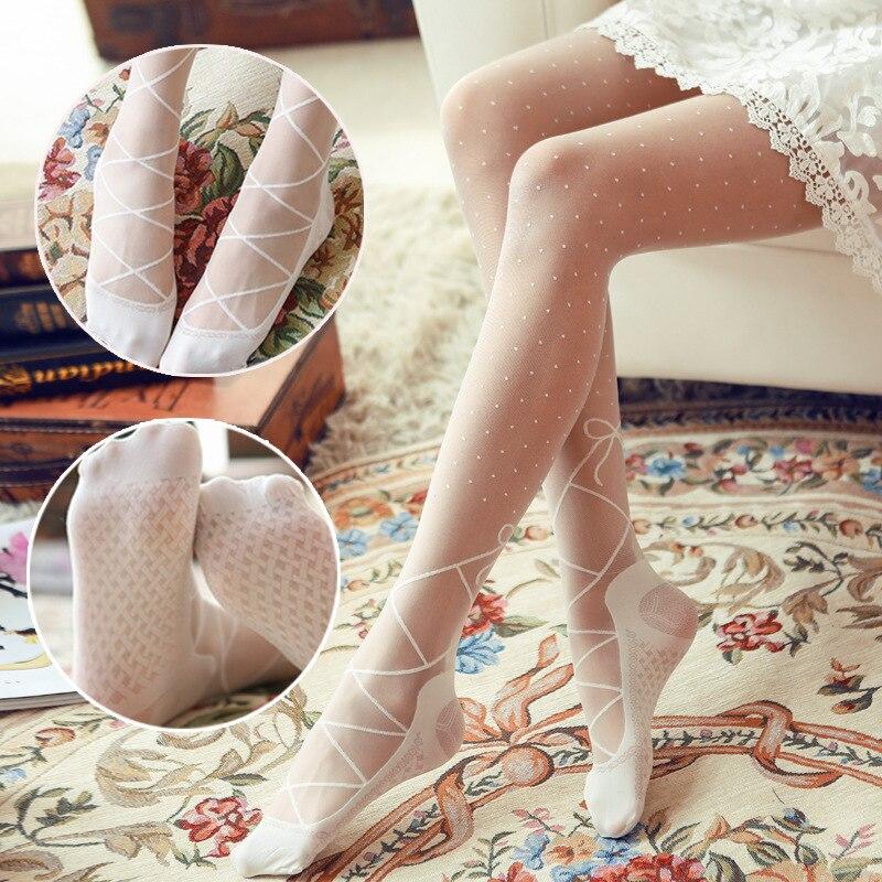 Hot Sell Sexy Polka Dot Pantyhose Stylish Women bowknot Tights Ballet shoes design Sheer Pantyhose Stockings Tights Slim