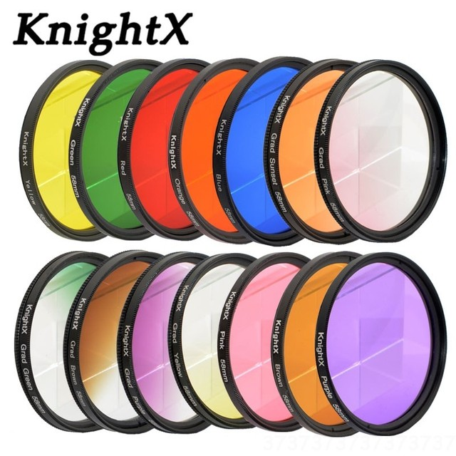 KnightX 24 filtre couleur 49mm 52mm 55mm 58mm 67mm 77mm grade nd pour nikon canon sony eos objectif photo dlsr d3200 a6500 objet uv