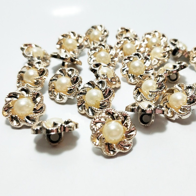HL 40pcs 17mm With Pearl plating buttons apparel sewing accessories DIY crafts garment supplies A290 in Buttons from Home Garden