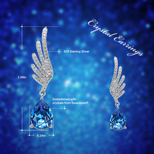 Image 4 - Cdyle Silver 925 Fine Jewelry Angel Wing Dangle Earrings with Blue Angel Teardrop Crystal for Bridal Wedding Ear Accessories