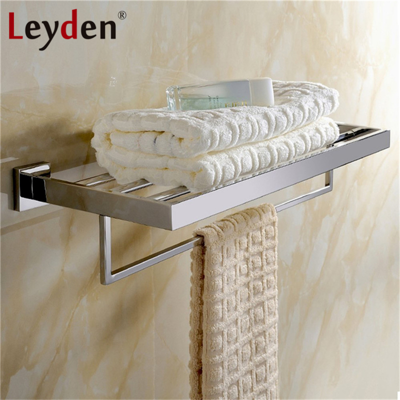Leyden High Quality Wall Mount 304 Stainless Steel ORB/ Chrome Finish Towel Rack Holder Hanger Bath Towel Clothes Storage Shelf