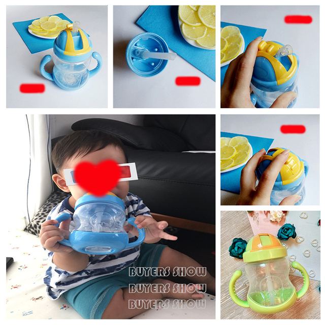 280ml Cute Baby Cup Kids Children Learn Feeding Drinking Water Straw Handle Bottle mamadeira Sippy Training Cup Baby Feeding Cup 1