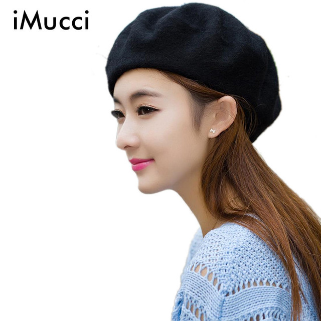 6dd280bdf94 iMucci Novelty Hat Solid Color Warm Wool Winter Women Girl Beret French  Artist Beanie Hat Ski Cap New Fashion Red Black Coffee