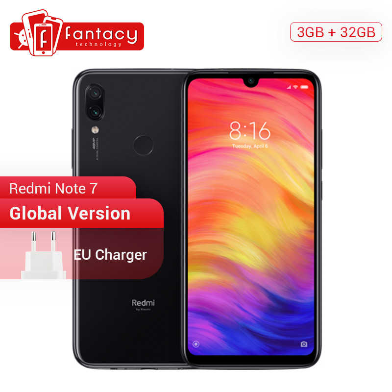 Глобальная версия Xiaomi Redmi Note 7 3 GB 32 GB Snapdragon 660 АНО 6,3 ''капли воды FHD Экран Mobile телефон 48MP камеры 4000 mAh