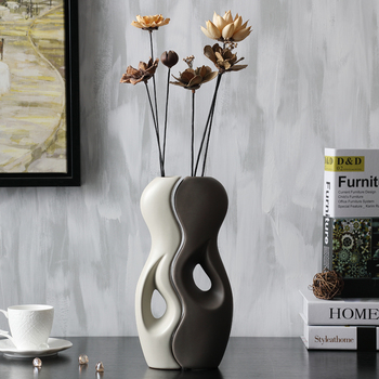 Ceramic  Vase Creative Art  Design Dried Flowers Vase Pot Home Decor Crafts Wedding Decorations Porcelain Figurines