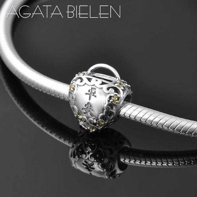 a721cc208 New 925 Sterling Silver Longevity Lock Baby Gift Heart Peace fine beads Fit  Original Pandora Charm