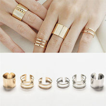 New 3Pcs/Set Women Jewelry Gold Sliver Color Rings Fashion Top Of Finger Over The Midi Tip Finger Above The Knuckle Open Ring(China)
