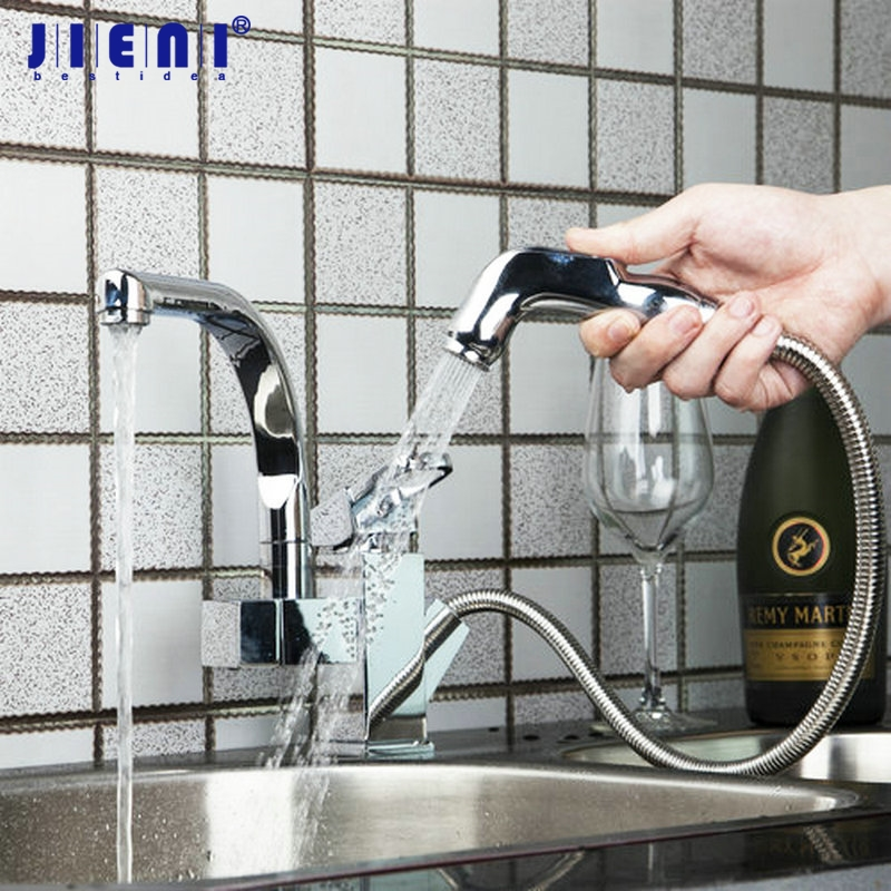 JIENI Pull Out UP Down Swivel Chrome Brass Deck Mount Hot Cold Water Lavabo Stream Hand Spray Kitchen Sink Tap Mixer Faucet