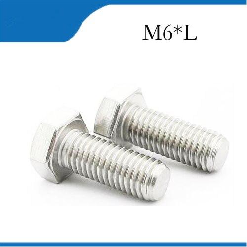 bolt m6 free shipping Metric Thread M6 304 Stainless Steel Outside Hex Head Cap Screw Bolt m6 bolts,m6 nails сервер lenovo x3250 m6 3943e6g