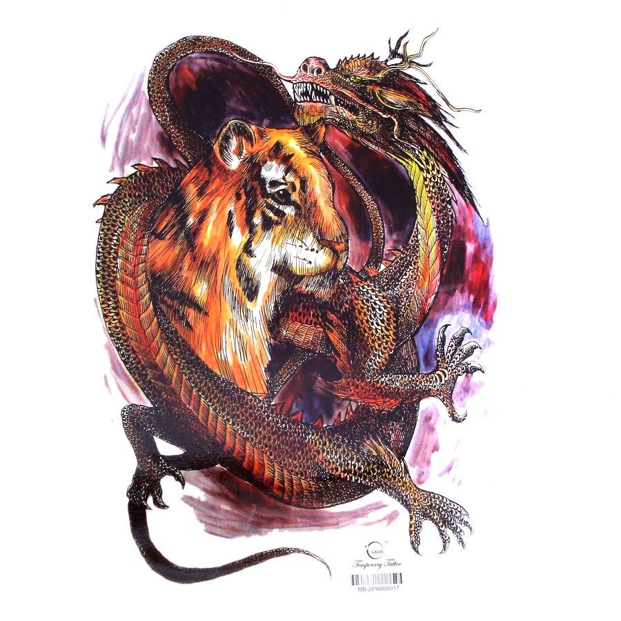 Us 404 19 Off34x48 Cm Pełna Z Powrotem Duży Kolor Walki Tygrys I Smok Wodoodporne Tymczasowe Naklejki Z Tatuażami Męskie Art Fałszywy Tatuaż Wzory